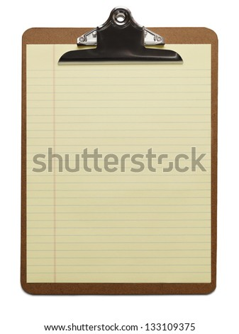 Clipboard with Blank Yellow Paper.