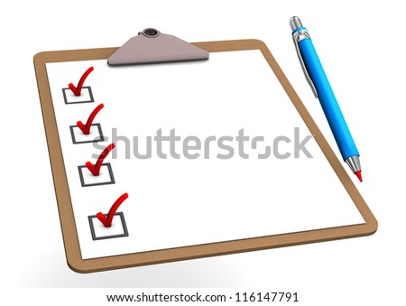 Clipboard with blue pen on the white background. - stock photo