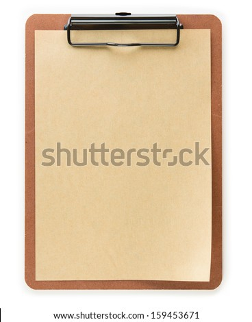 Clipboard with, brown paper, isolated on white. slight page curl.