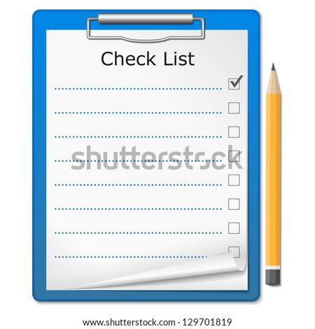 Clipboard with checklist - stock photo