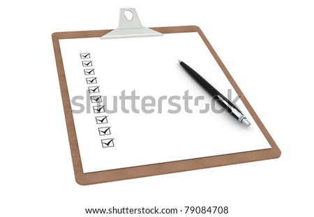 Clipboard with Checklist and Pen. Side view. - stock photo