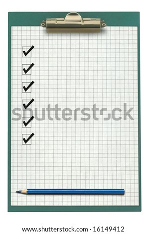 clipboard with checklist and pencil isolated on white - stock photo