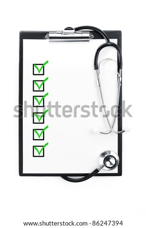 Clipboard with checklist and stethoscope isolated with path included - stock photo