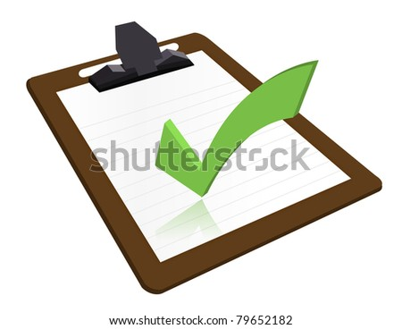 Clipboard with checkmark illustration design over a white background - stock photo