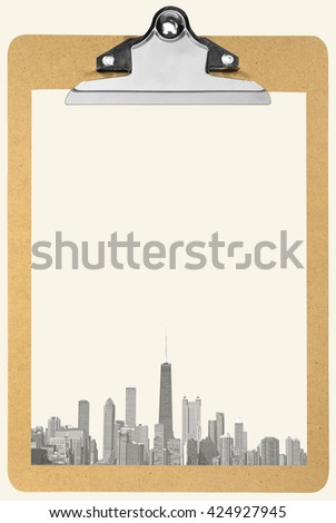 Clipboard with Chicago city sheet of paper - stock photo