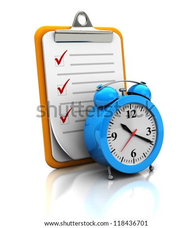 Clipboard with clock on white background, 3d image - stock photo