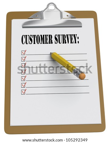 Clipboard with Customer Survey and stubby pencil on white background