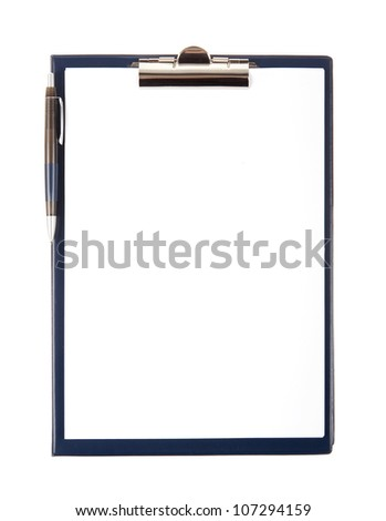 Clipboard with empty document