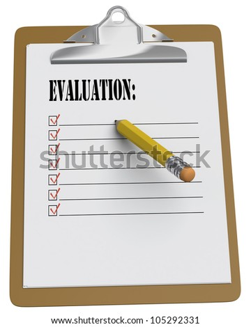 Clipboard with Evaluation and stubby pencil on white background