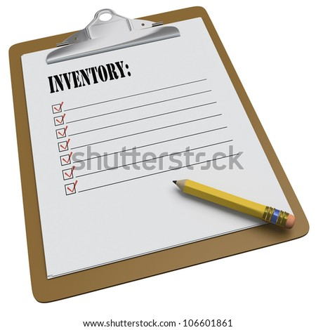 Clipboard with Inventory text and stubby pencil on white background