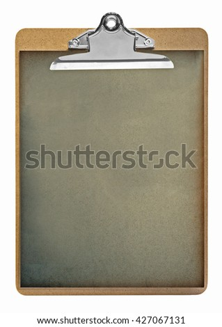 Clipboard with old paper isolated on white