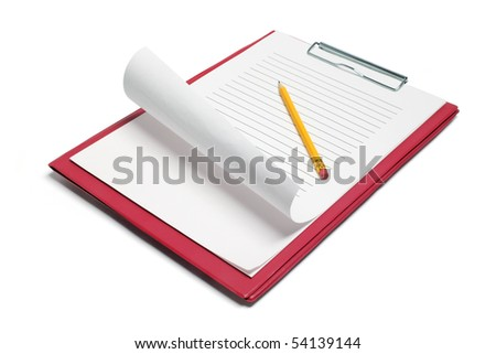 Clipboard with Papers and Pencil on White Background