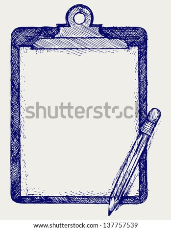 Clipboard with pencil. Doodle style. Raster version - stock photo