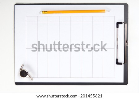 Clipboard with pencil, metal sport whistle with lanyard, paper sheet, top view isolated on white - stock photo