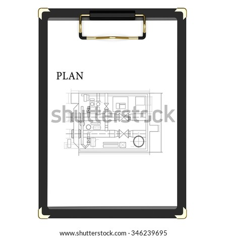 Clipboard with plan and a white paper on a white background - stock photo