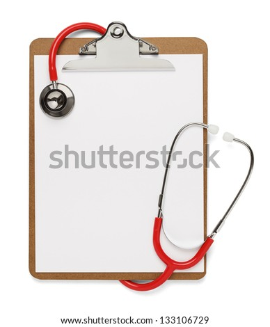 Clipboard with Red Stethoscope wrapped around it with blank copy space isolated on white. - stock photo