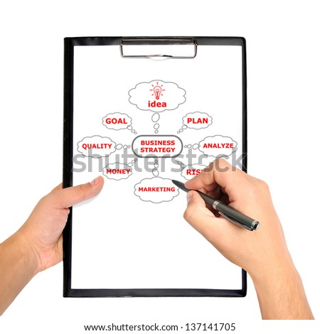 clipboard with scheme business strategy in hand - stock photo