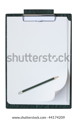 Clipboard with sheet of paper and pencil isolated on the white background.