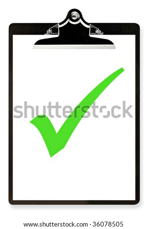 Clipboard with single large green tick or check mark.  Isolated on white. - stock photo