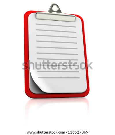 Clipboard with strips on white background, 3d image - stock photo