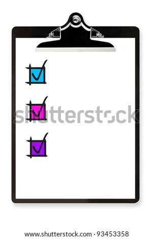 Clipboard with white paper and colorful check boxes. - stock photo