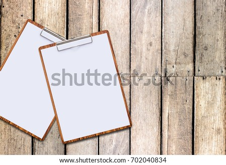 Clipboard White Sheet On Wooden Background Stock Photo (Royalty Free ...