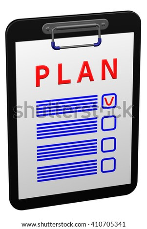 Clipboard with word plan, isolated on white background. 3D rendering.