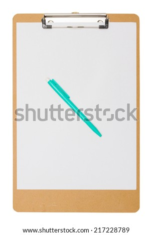 clipboard wooden with Green pen
