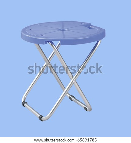 cliping path of the folderable stool - stock photo