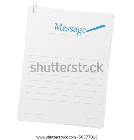 Clipped papers with message layout - stock photo