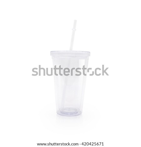 Clipping path clear glass and tube on white background. Clean water cup for takeaway.