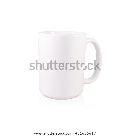 Clipping path coffee mug on white background. Blank handle ceramic cup. Empty object for your design. - stock photo