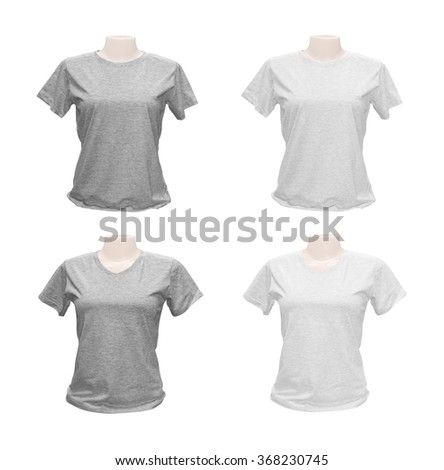 Clipping path girl t-shirt on white background. - stock photo