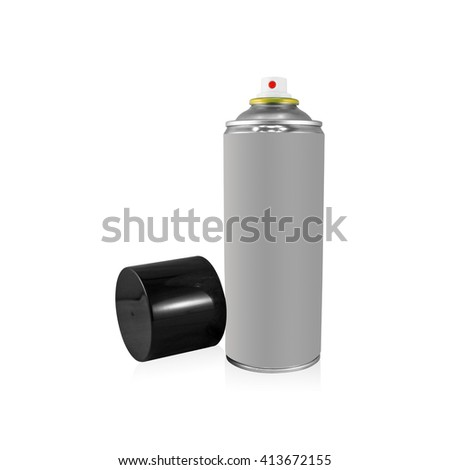 Clipping path gray spray can on isolated background. Blank chemical package for your design. - stock photo