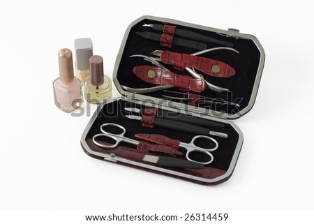 clipping path included. manicure set - stock photo