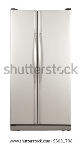 clipping path of the double door freezer - stock photo