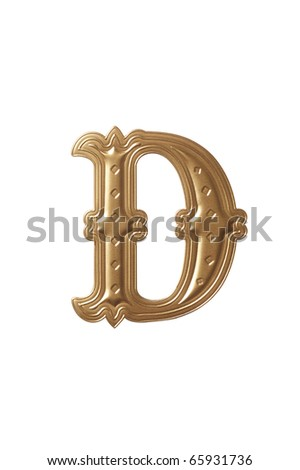 clipping path of the golden alphabet d - stock photo
