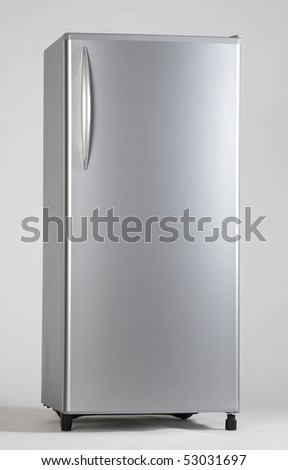 clipping path of the single door freezer - stock photo