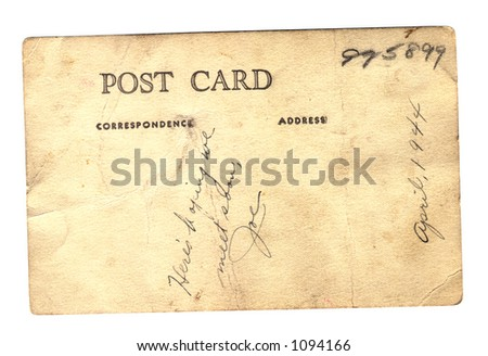 Clipping Path w/file - Back of old Portrait Postcard from WWII - stock photo