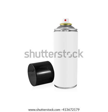 Clipping path white spray can on isolated background. Blank chemical package for your design. - stock photo