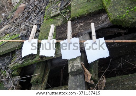 clips and pieces of paper on the old roof standing on twigs