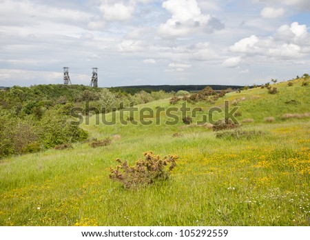 Clipstone Colliery View from Vicar Water Country Park in Mansfield, England, uK