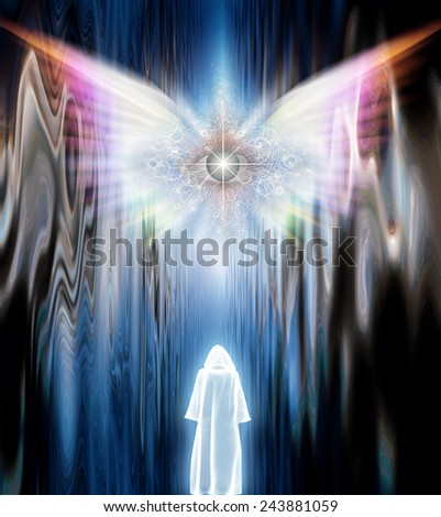 Cloaked Figure before Winged Eye - stock photo