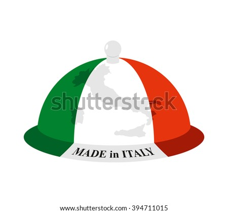 Cloche Italian. Cover for hot dishes with map of Italy. Accessory of Italian cooks. Subject of tableware. Iron cover and plate for eating. - stock photo