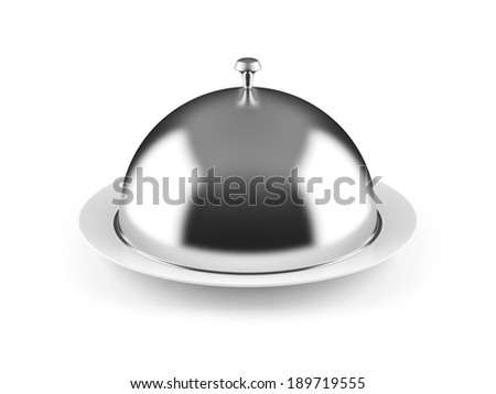Cloche on plate isolated on white - stock photo