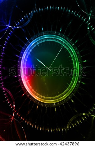 Clock, abstract background.