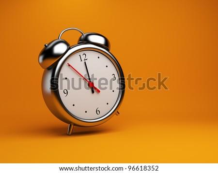 Clock alarm 3D. Time concept. On orange background - stock photo