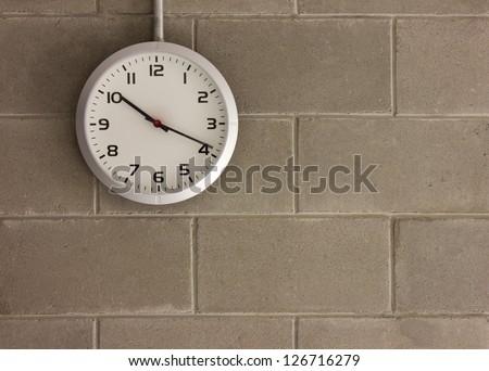 clock analog Wall background running - stock photo