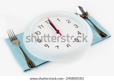 Clock and a set of preparation for meal