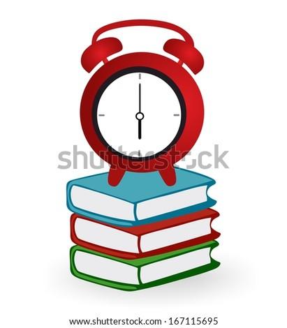 Clock and books - stock photo